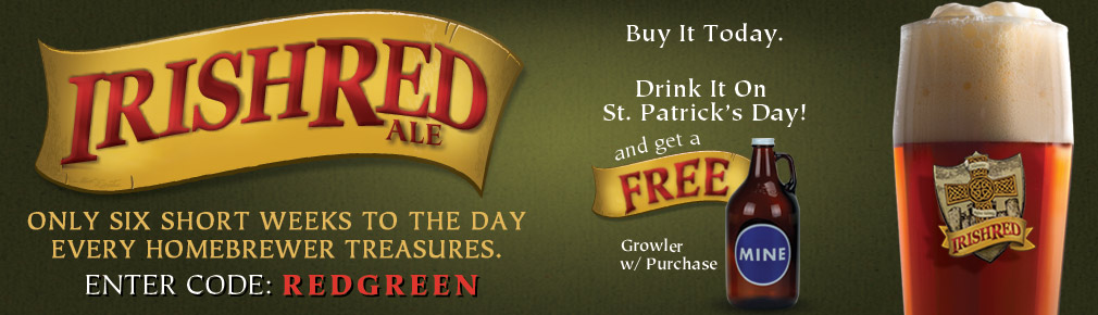 Free Growler with Purchase of an Irish Red Ale